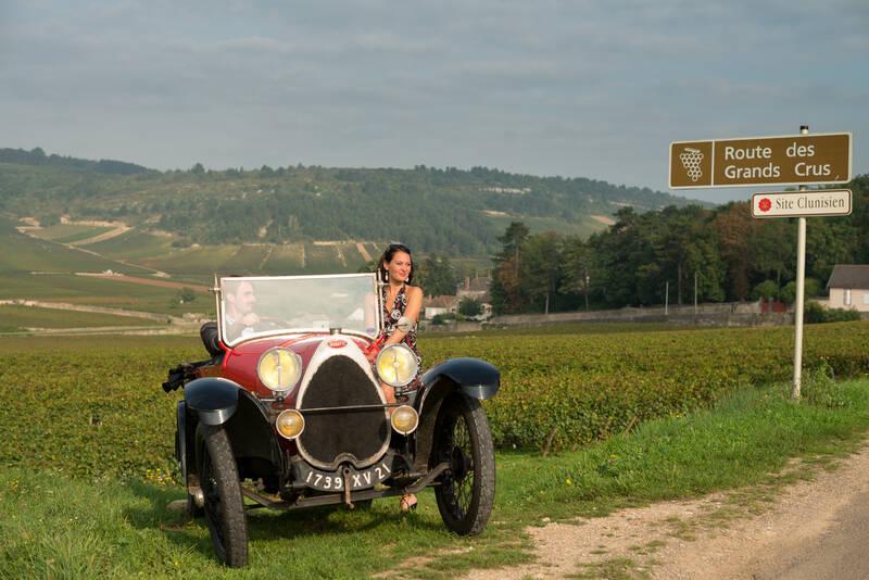 Bugatti in de wijngaarden, Route des Grands Crus