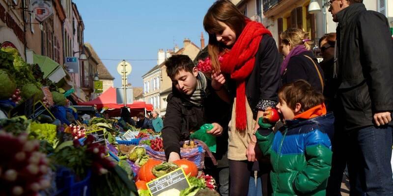 Chagny,Rollator op de markt